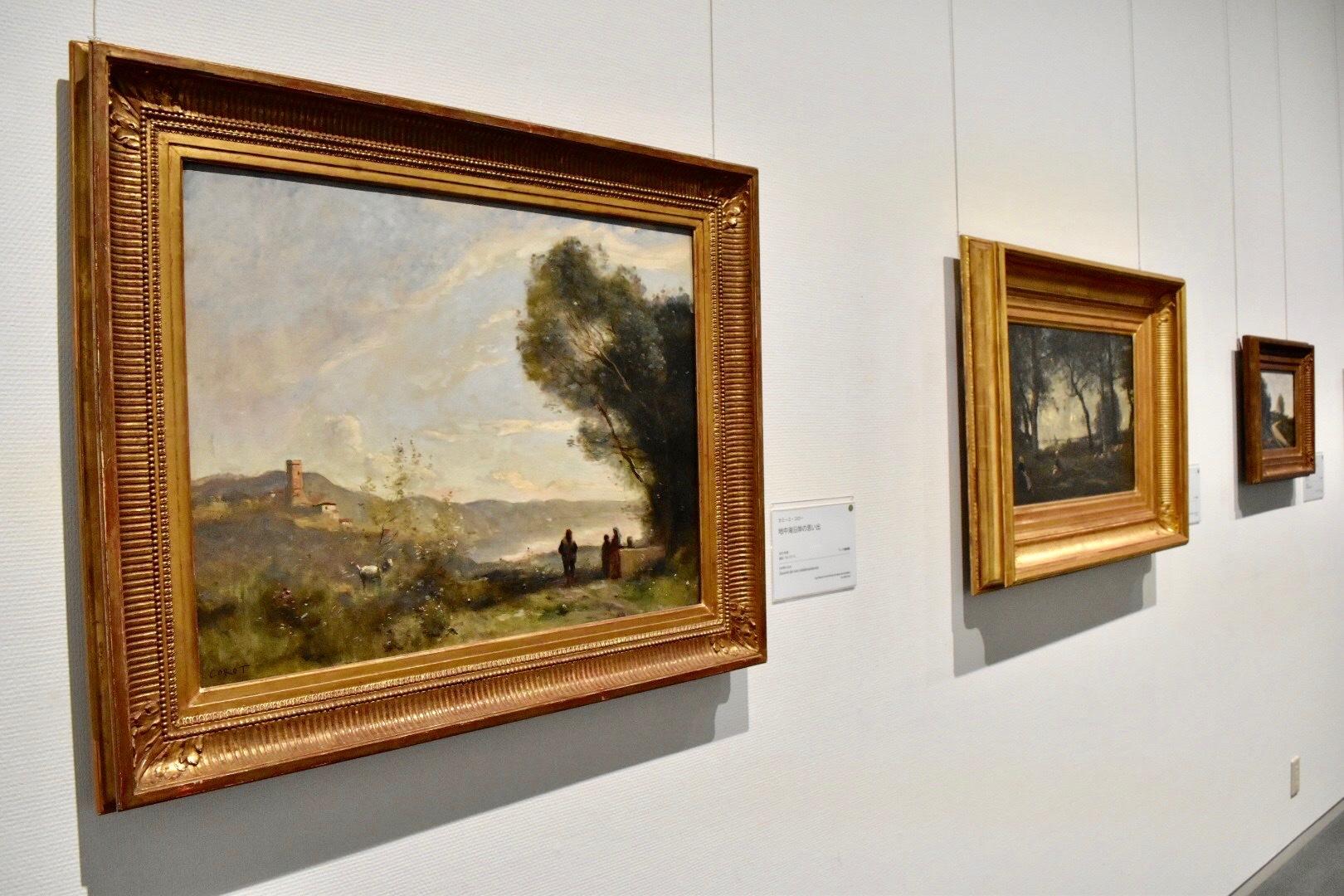 左:カミーユ・コロー 《地中海沿岸の思い出》 1873年頃 ランス美術館蔵
