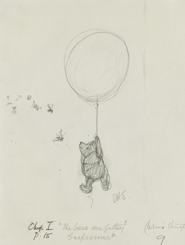 「ハチのやつ、なにか、うたぐってるようですよ」、『クマのプーさん』第1章、 E.H.シェパード、鉛筆画、1926年、V&A所蔵 (C) The Shepard Trust