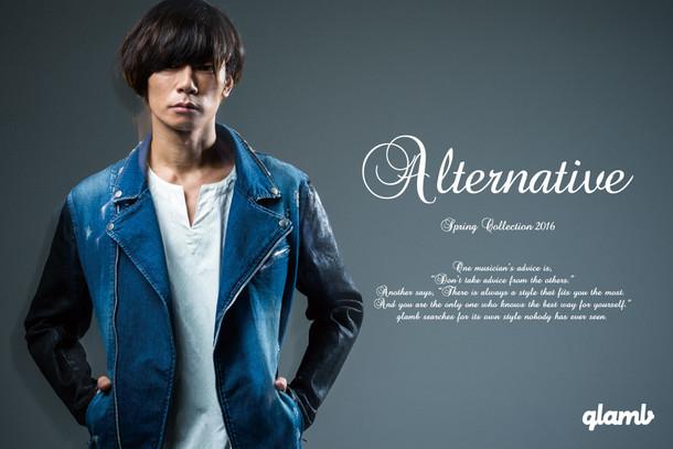 「glamb」春コレクションを着こなす川上洋平([Alexandros])。
