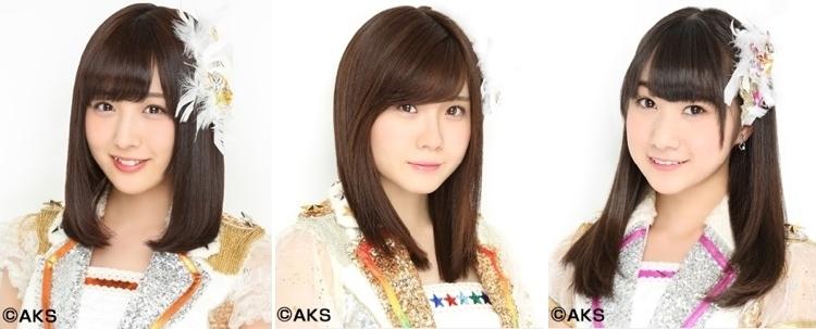 左から、鎌田菜月(チームE)、谷真理佳(チームE)、一色嶺奈(チームS ドラフト2期 研究生)