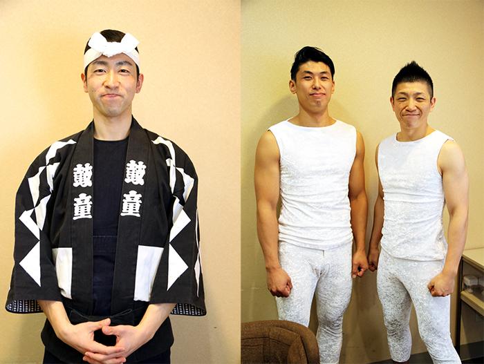 「鼓童」(左から)前田剛史、中込健太、船橋裕一郎  撮影=こむらさき