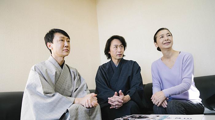 (左から)河合雪之丞、喜多村緑郎、高橋惠子