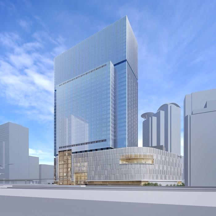 「梅田3丁目計画(仮称)」 完成予想図 。右下が劇場部分。
