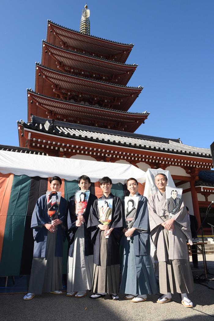 (左より)中村隼人、坂東新悟、坂東巳之助、中村米吉、中村錦之助