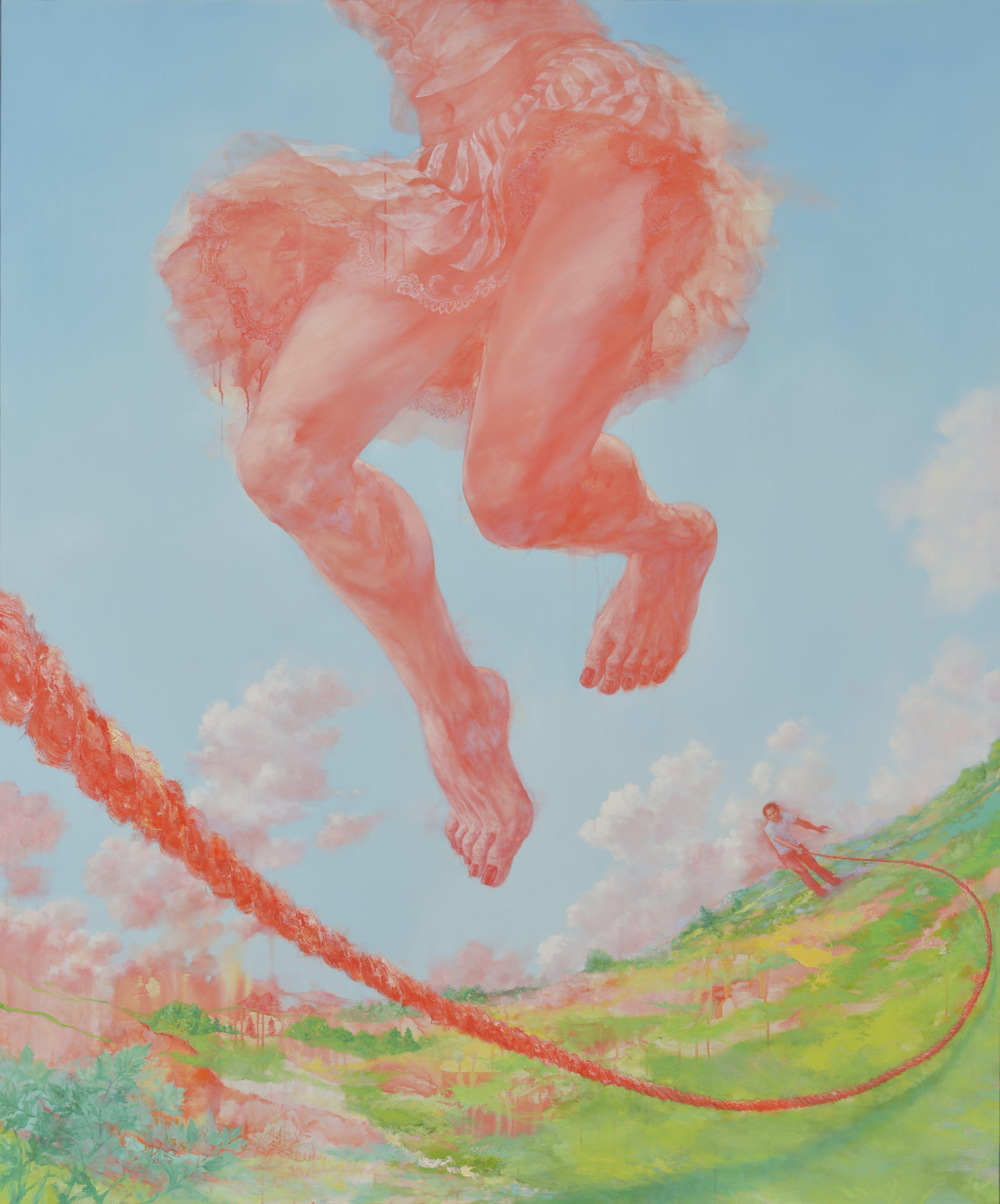 FACE2018 グランプリ 仙石 裕美《それが来るたびに跳ぶ 降り立つ地面は跳ぶ前のそれとは異なっている》 2017年 アクリル・油彩・キャンバス 194×162㎝