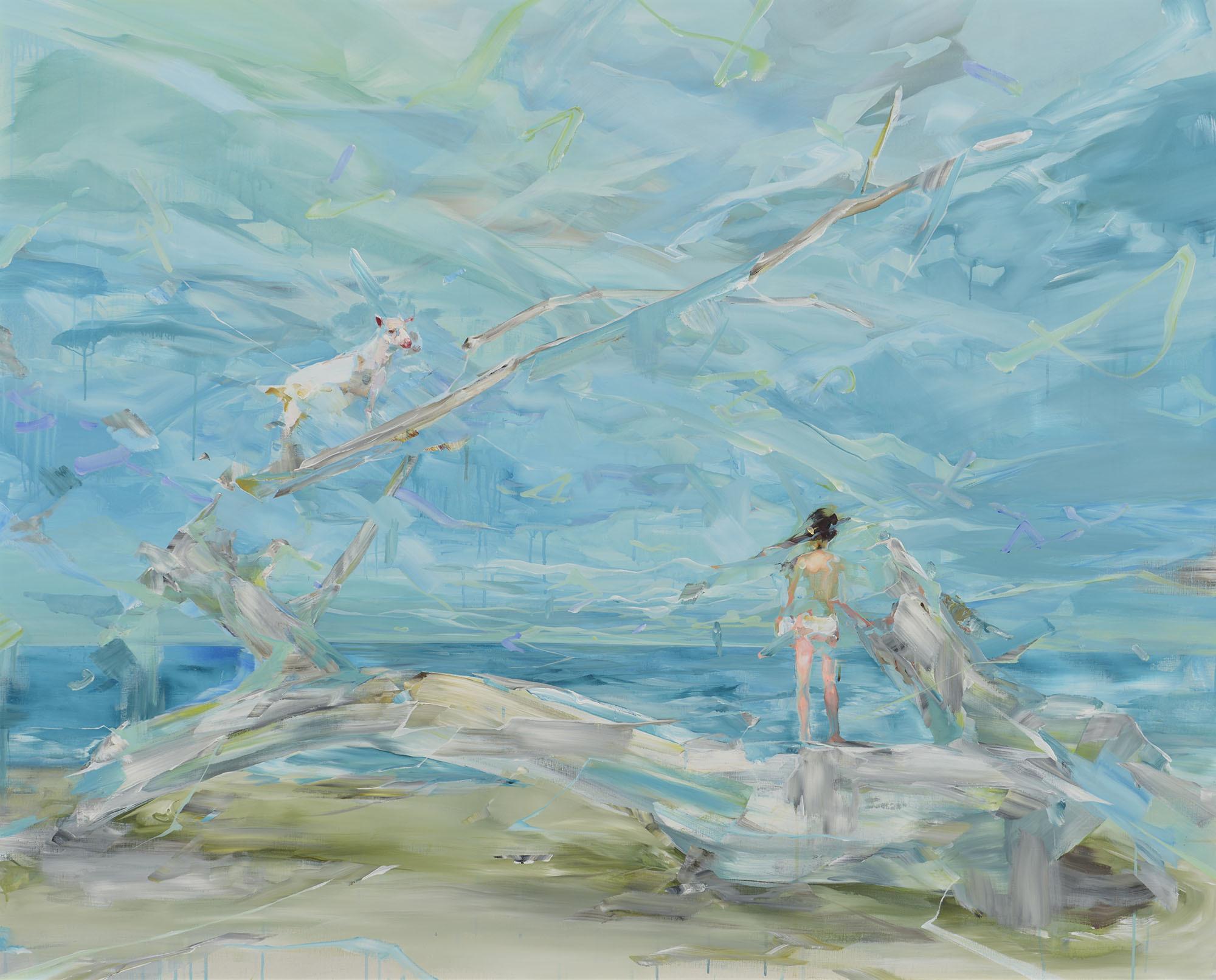 新 直子(しん なおこ) 《drift》2016 年 アクリル・キャンバス 134.9×166.5 ㎝ 1988 年生まれ (審査員:堀元彰)