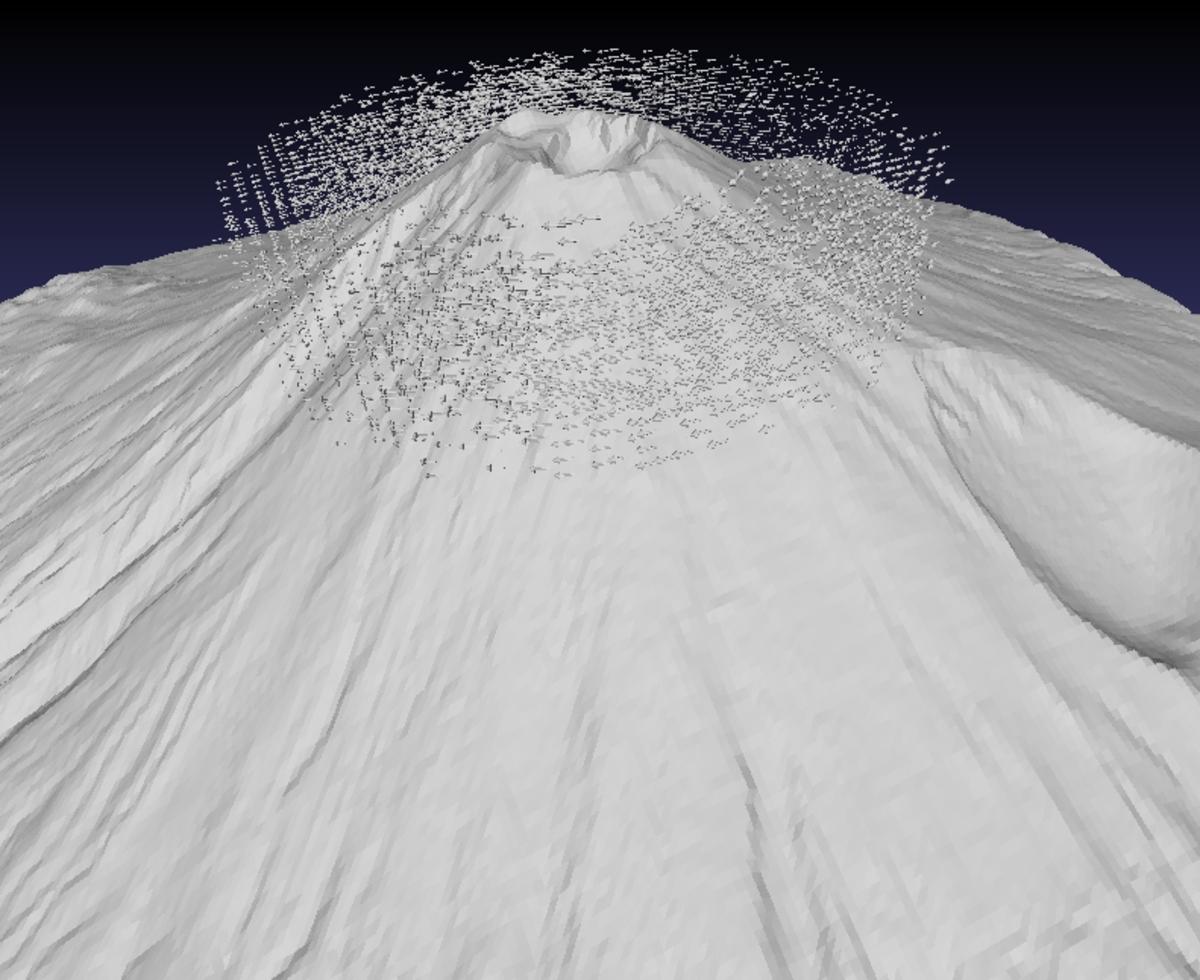 古賀良太「富士山 with ベクトル層流」、iPad、STLデータ、透明樹脂、3Dプリント(実際の展示物の一部です)