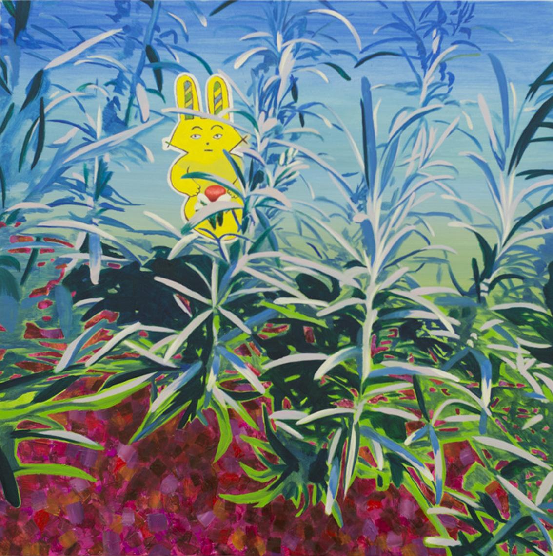 Yellow Rabbit has luminous red2017oil on canvas 80 × 80 cm©Aya Ito
