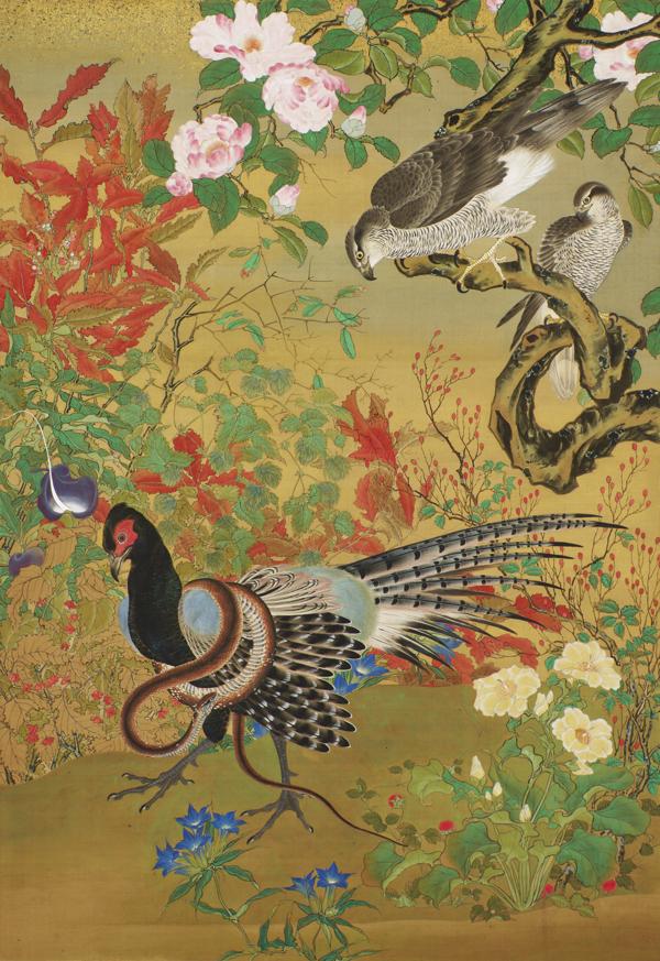 花鳥図 河鍋暁斎 一幅 明治14年(1881) 東京国立博物館 Image: TNM Image Archives