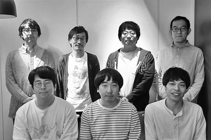 (前列左から)角田貴志、本多力、石田剛太(後列左から)酒井善史、中川晴樹、 諏訪雅、上田誠