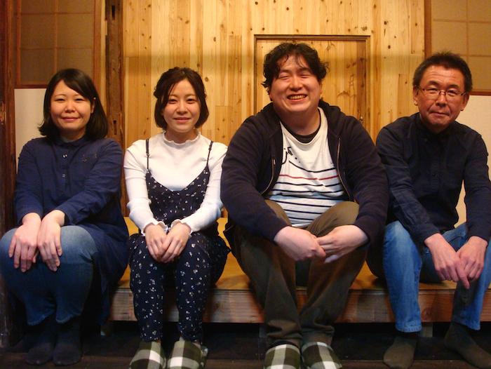 左から・作者の長谷川彩、『下校の時間』出演者の早川綾子、おにぎりばくばく丸、演出の加藤智宏