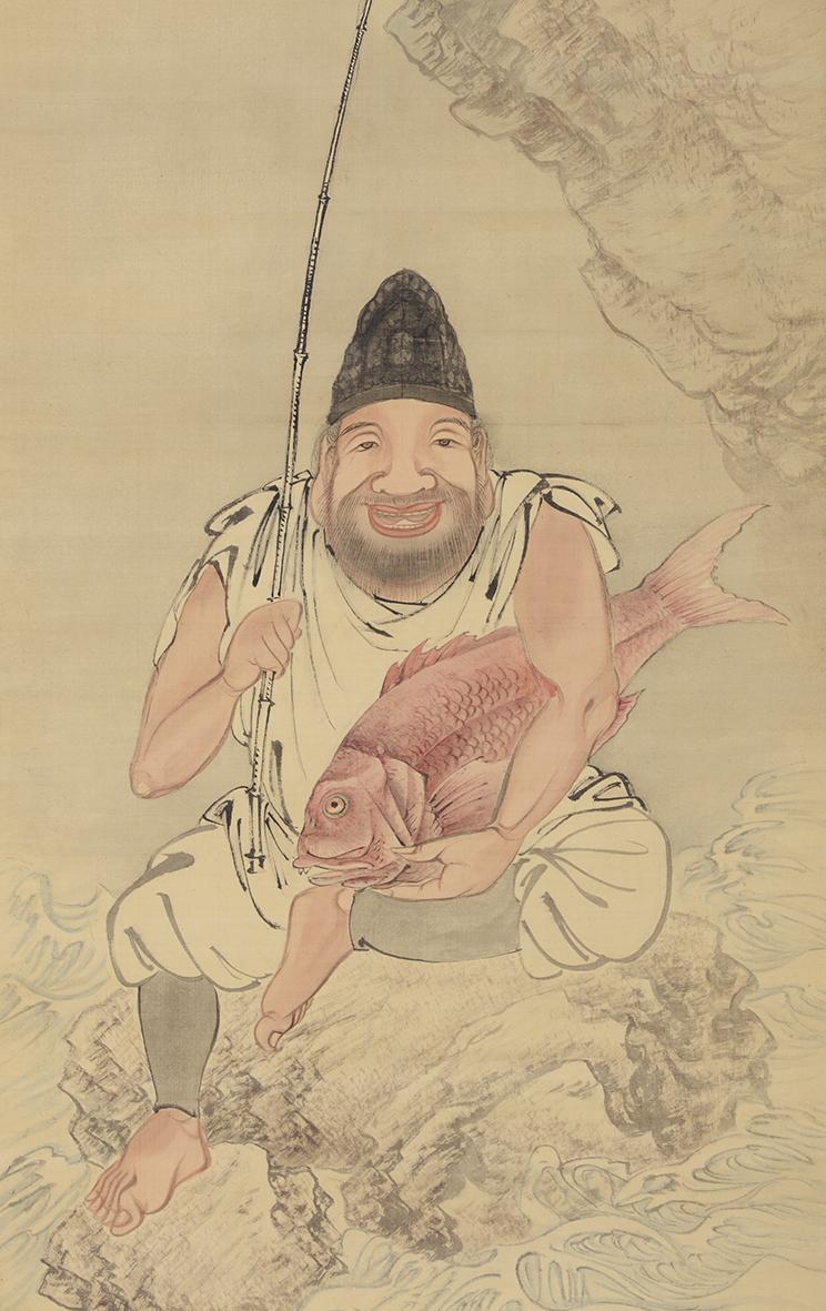 月僊「恵比寿図」部分 三重県立美術館蔵