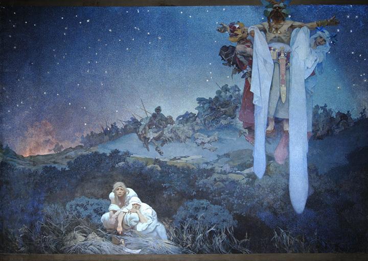 アルフォンス・ミュシャ『スラヴ叙事詩「原故郷のスラヴ民族」』1912年 プラハ市立美術館 ©Prague City Gallery