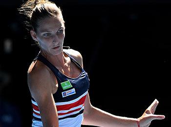 WTAランキング9位(7月16日現在)のカロリナ・プリスコバ。186センチと恵まれた体で打ち込むボールは圧巻だ