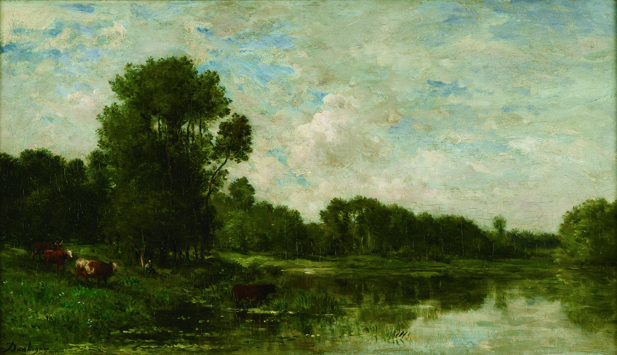 《オワーズ河畔》 1865年頃 油彩/板 32.2×56.8㎝ ランス美術館 (C)Christian Devleeschauwer