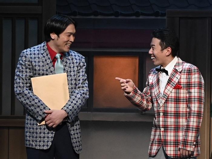 Bプロ『鴨八ネギ次郎』(右から)藤山扇治郎、渋谷天笑