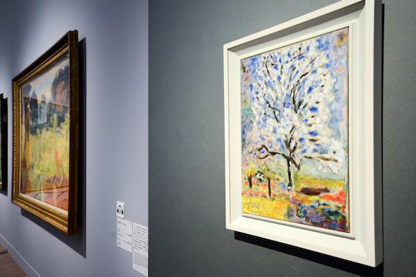 手前/ピエール・ボナール《花咲くアーモンドの木》 1946-47年 油彩、カンヴァス オルセー美術館(ポンピドゥー・センター、国立近代美術館寄託)