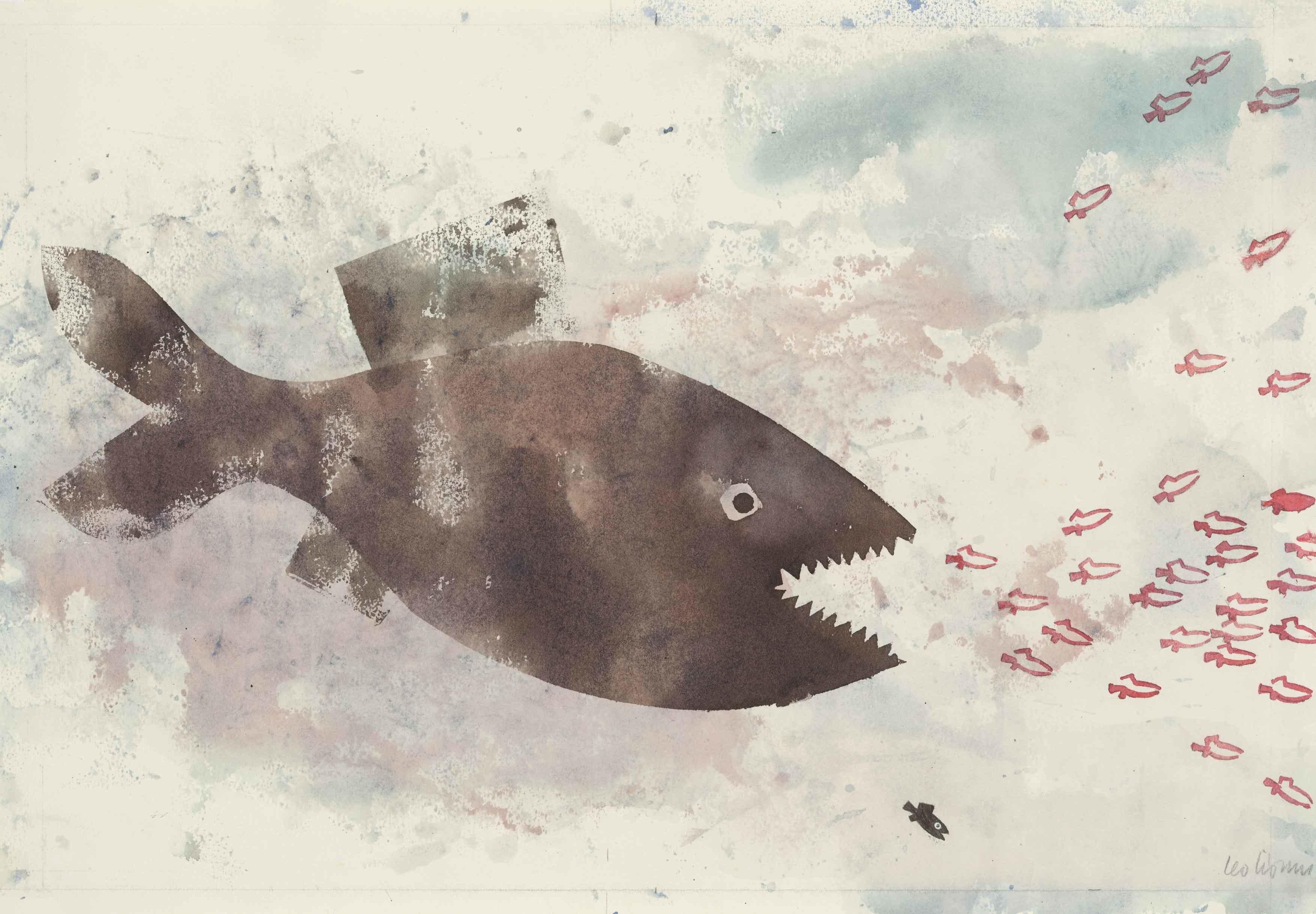 「スイミー」 1963年 水彩、モノタイプ 54.5×72.5cm スロバキア国立美術館 Swimmy (C)963 by Leo Lionni, renewed 1991/Pantheon On Loan By The Slovak National Gallery