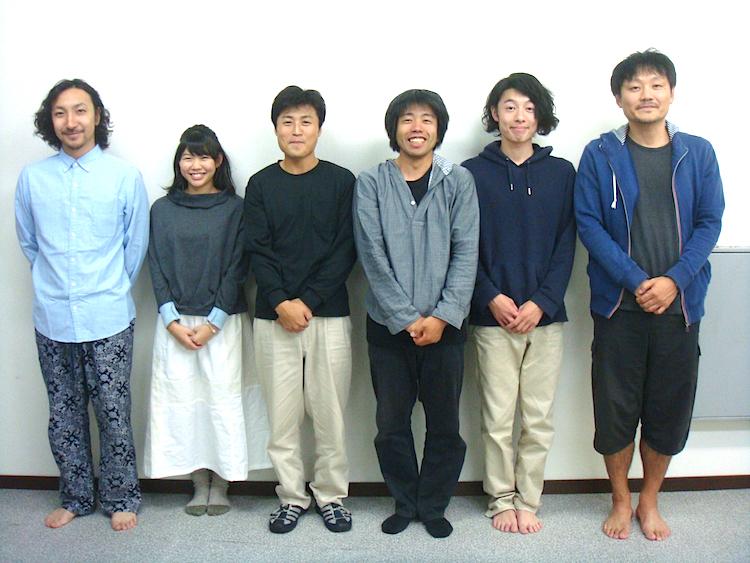 左から・ヤストミフルタ、川上珠来、木暮拓矢、田内康介、芝原啓成、平塚直隆