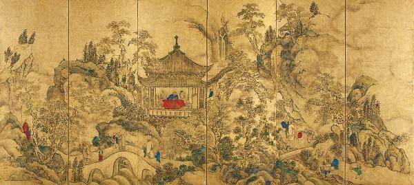 楼閣山水図屏風(左隻) 東京国立博物館