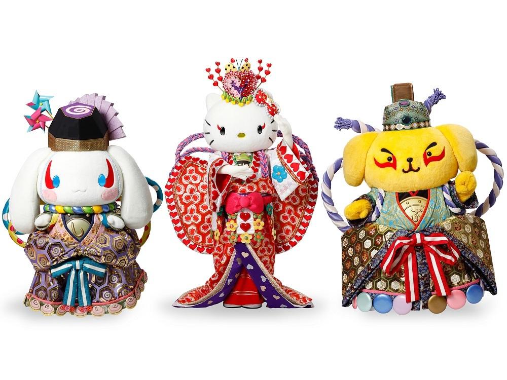 歌舞伎スタイルのシナモロール、ハローキティ、ポムポムプリン