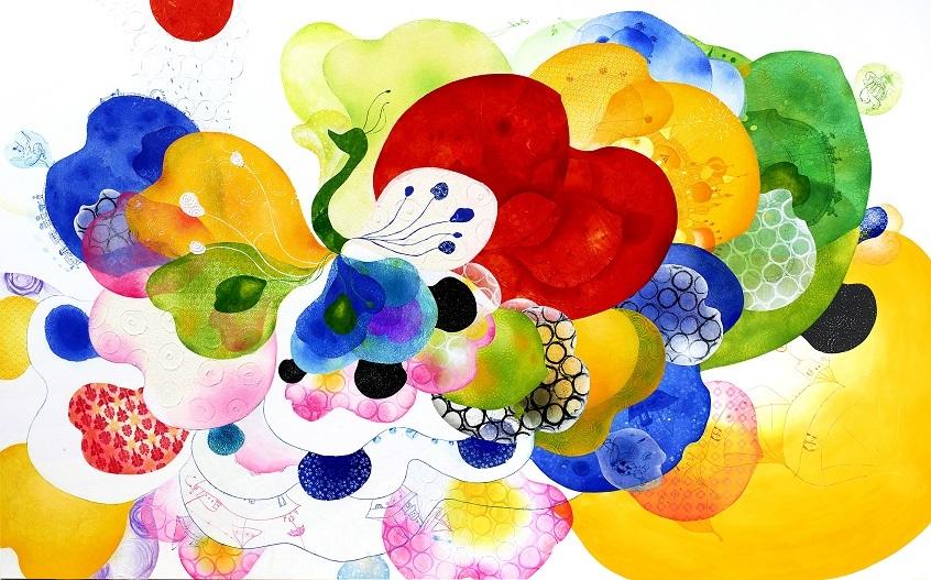 舟田潤子「flying flower」162.0×260.6cm 和紙水彩画(和紙、エッチング、ドライポイント、レリーフ、水彩、色鉛筆)
