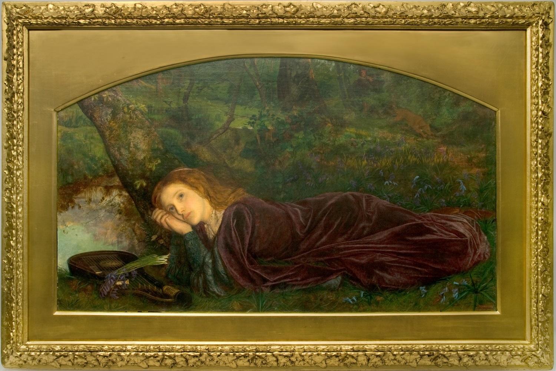 アーサー・ヒューズ《リュートのひび(不和の兆し)》1861-62年、油彩/カンヴァス、52×92 cm、 タリー・ハウス美術館  (C) Tullie House Museum and Art Gallery,Carlisle,UK