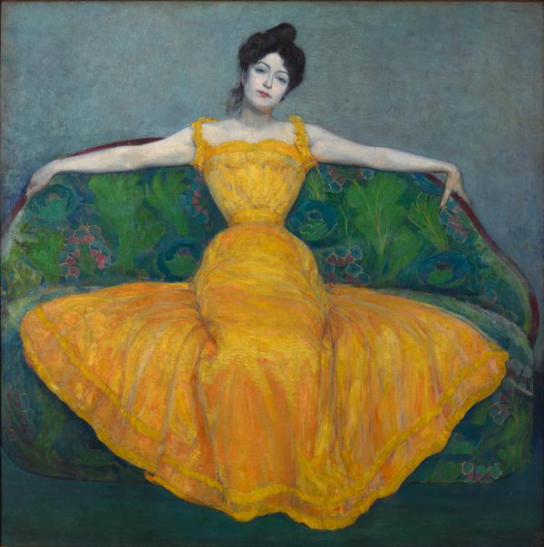 マクシミリアン・クルツヴァイル《黄色いドレスの女性(画家の妻)》1899 年 油彩/合板 171.5 x 171.5 cm ウィーン・ミュージアム蔵 (C)Wien Museum / Foto Peter Kainz
