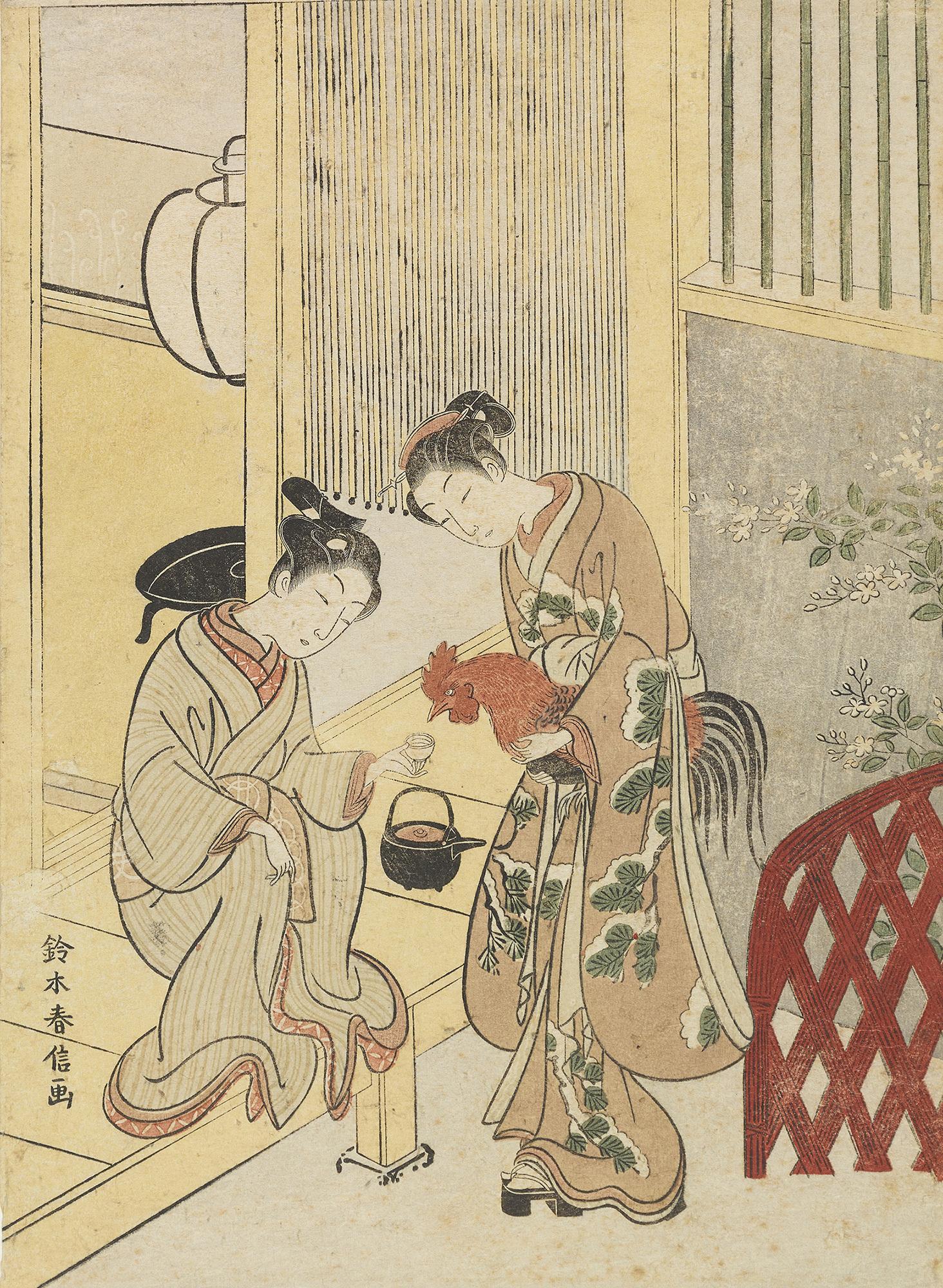 「鶏に餌をやる男女」鈴木春信筆 江戸時代・18世紀[1月2日(月・休)~1月29日(日)]