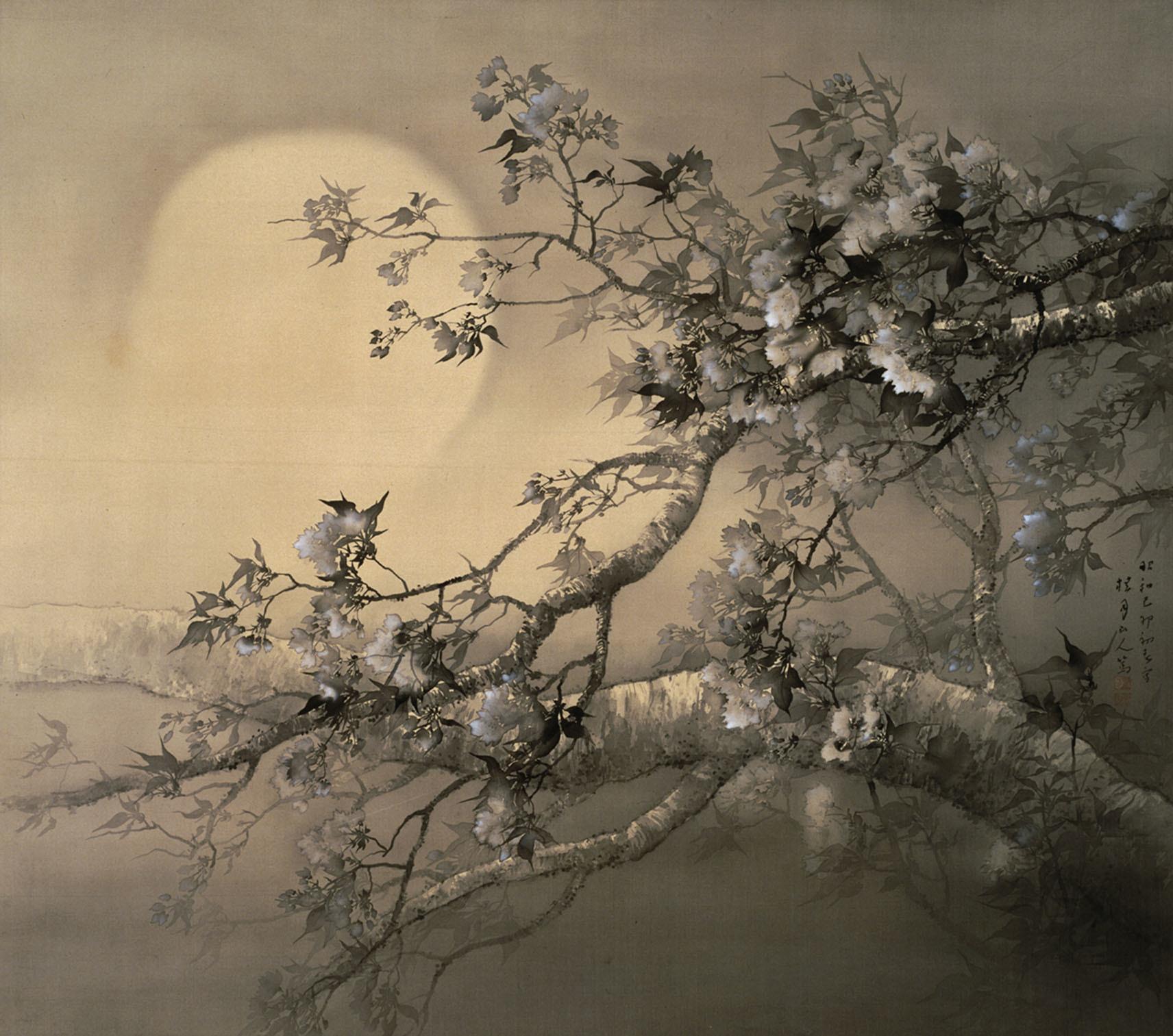 松林桂月《春宵花影図》1939年