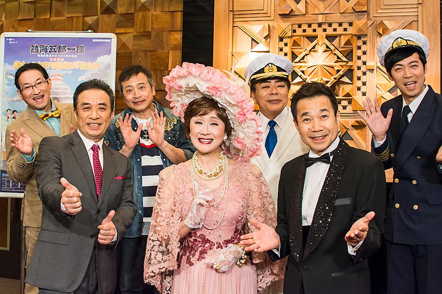 熱海五郎一座 左から、春風亭昇太、渡辺正行、ラサール石井、小林幸子、小倉久寛、三宅裕司、東貴博