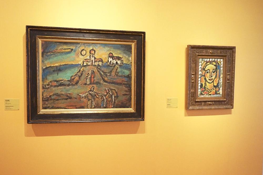 ジョルジュ・ルオー 左:《秋の夜景》1952年、右:《マドレーヌ》1956年 パナソニック汐留ミュージアム