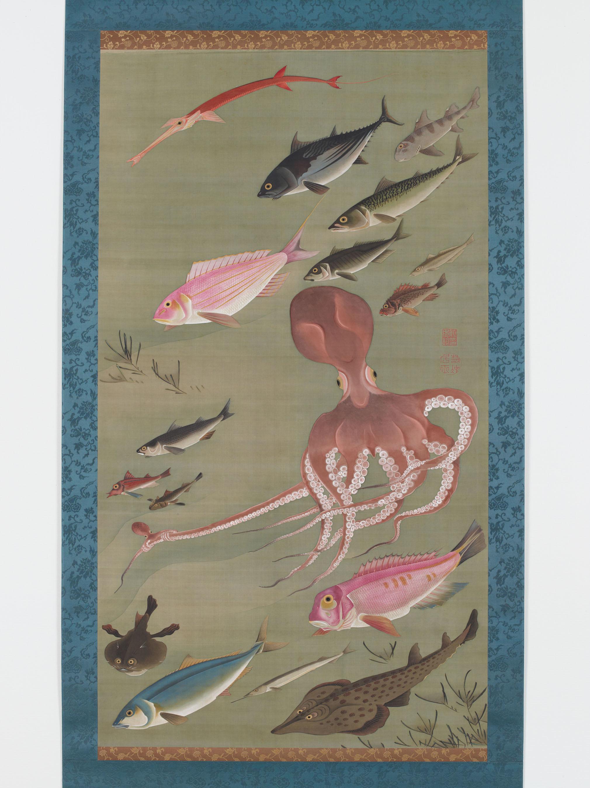 伊藤若冲〈諸魚図〉(動植綵絵30幅のうち) 宮内庁三の丸尚蔵館蔵