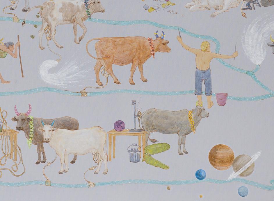 N・S・ハルシャ 《この世でモー》(部分) 2014年 アクリル、キャンバス 190 x 150 cm 所蔵:有沢敬太