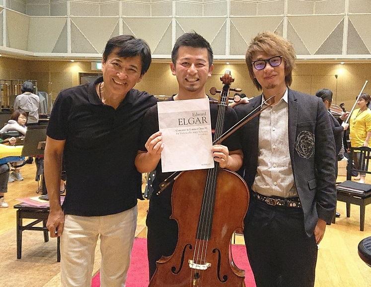 エルガーのチェロ協奏曲のリハーサル中に、豪華3ショットが実現。
