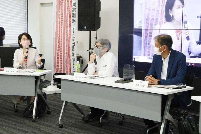 (左から)相馬千秋総合プロデューサー、平田オリザフェスティバルディレクター、高宮浩之演劇祭実行委員会会長