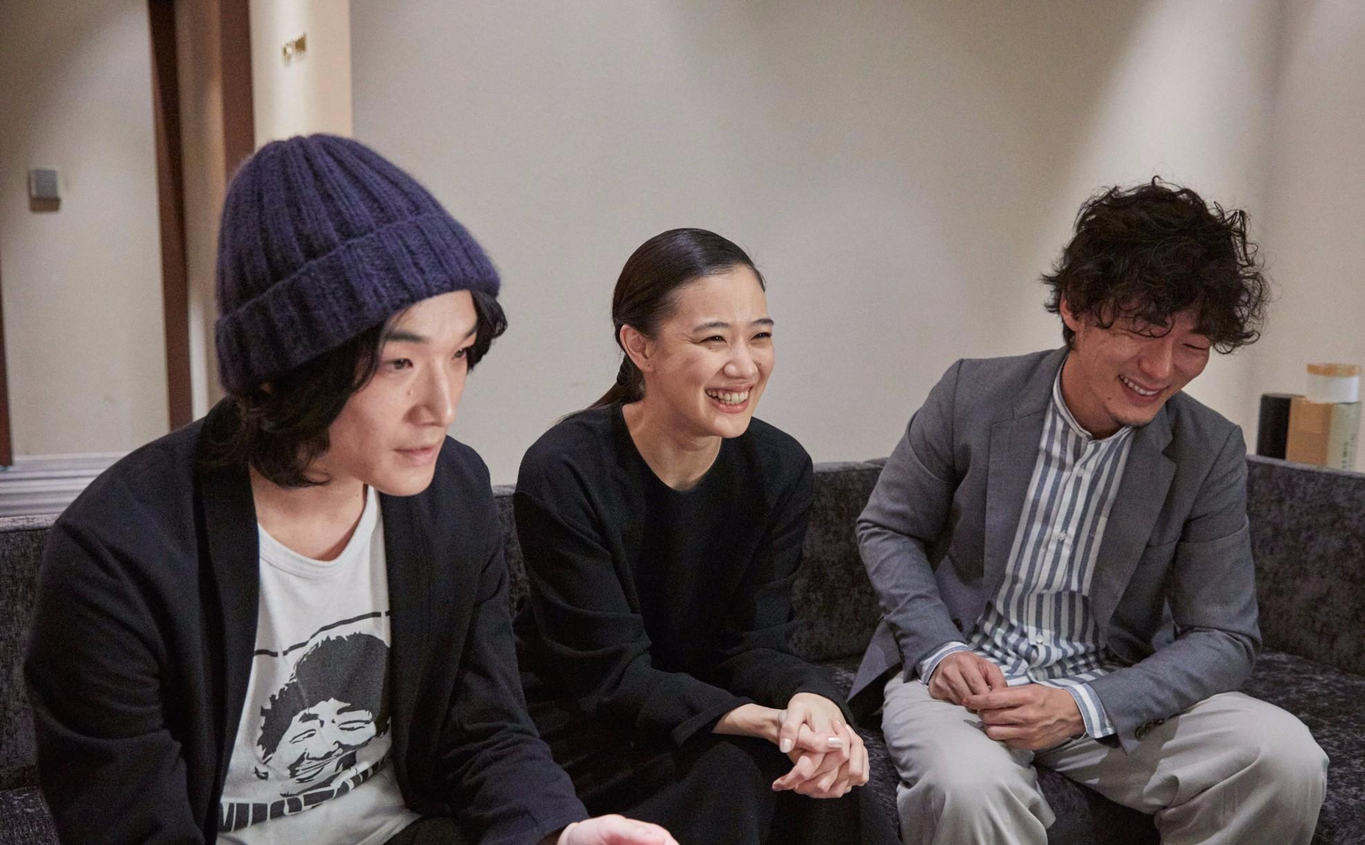 左から、石崎ひゅーい、蒼井優、松居大悟監督