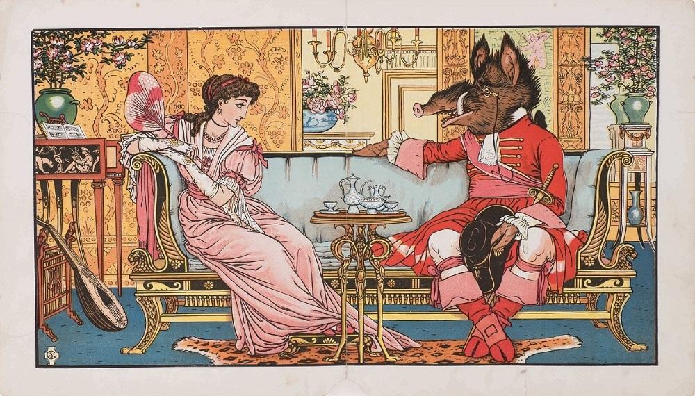 ウォルター・クレイン『美女と野獣』1874年 個人蔵