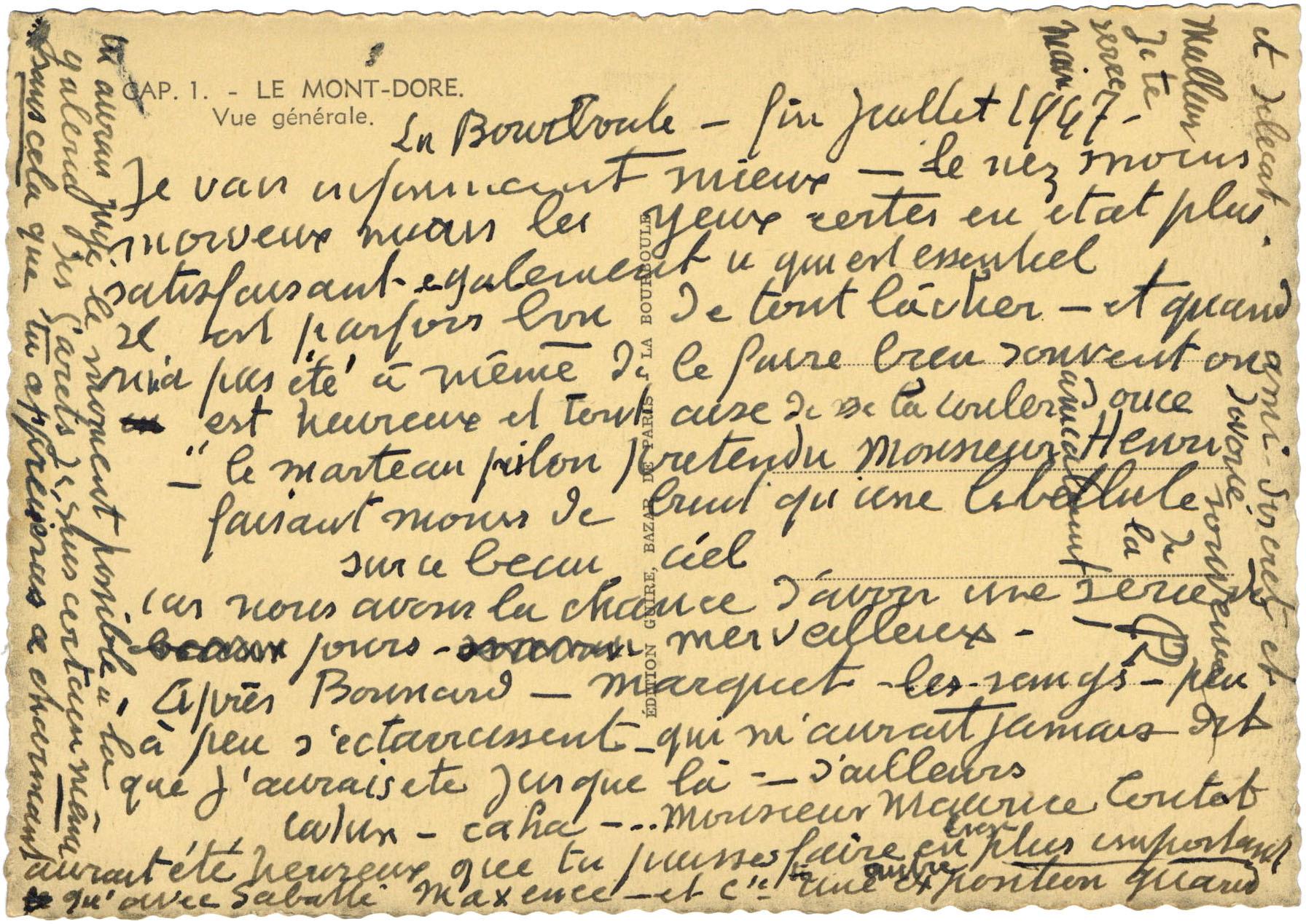 ルオーからマティスへのハガキ 1947年7月 アルシーヴ・マティス