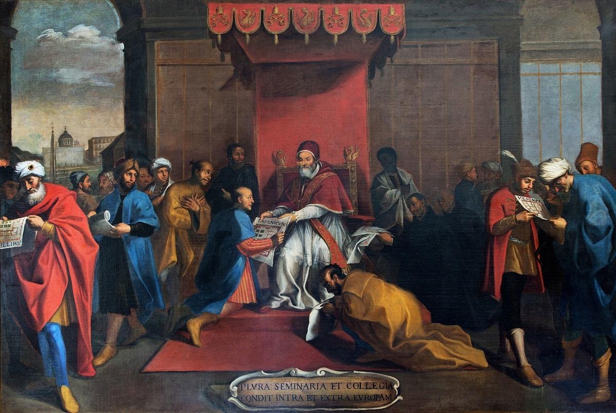 ローマの画家 《ヨーロッパ内外にセミナリオを設立するグレゴリウス13世》 16世紀末-17世紀初頭グレゴリアン大学