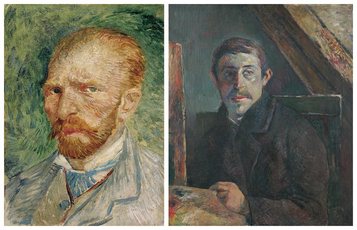 (左)《自画像》フィンセント・ファン・ゴッホ/クレラー=ミュラー美術館 (右)《自画像》ポール・ゴーギャン/キンベル美術館 (左)©Kröller-Müller Museum, Otterlo (右)©Kimbell Art Museum, Fort Worth, Texas