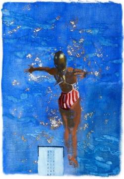 《Olympic Diver》油彩 キャンバス 50×35cm