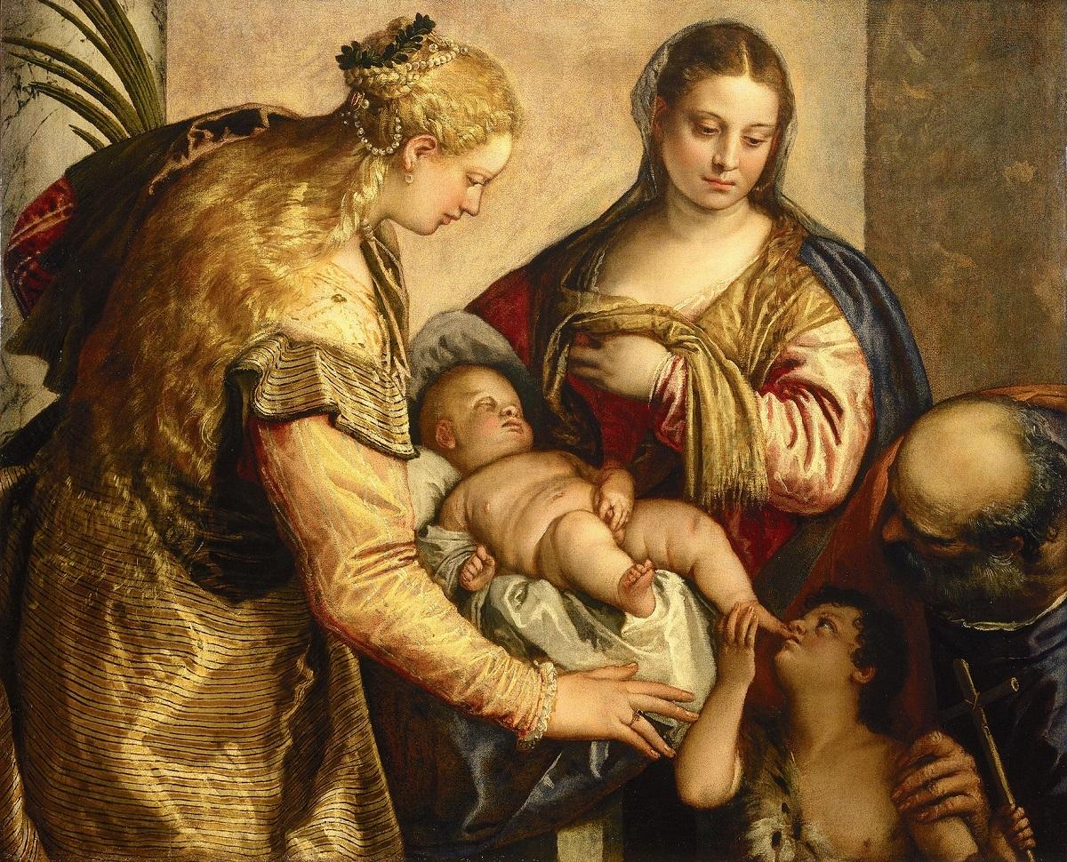 パオロ・ヴェロネーゼ 《聖家族と聖バルバラ、幼い洗礼者聖ヨハネ》 1562-65 年、油彩、カンヴァス、86×122cm、フィレンツェ、ウフィツィ美術館 ⓒ2016. Photo Scala, Florence - courtesy of the Ministero Beni e Att. Culturali