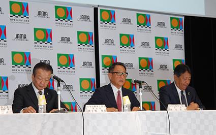 「来場者100万人を目指す」と話す、日本自動車工業会・豊田章男会長