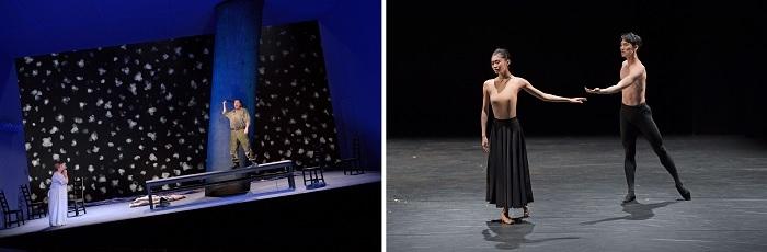 (左から)楽劇「ニーベルングの指環」第1日『ワルキューレ』撮影:寺司正彦/ダンス「舞姫と牧神たちの午後 2021」『Danae』撮影:鹿摩隆司