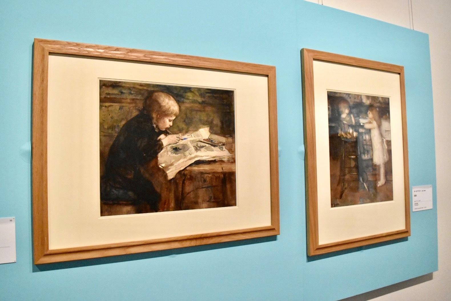 左:ヤーコプ・マリス 《若き芸術家》 1878年頃 水彩、グワッシュ、紙 (C)CSG CIC Glasgow Museums Collection  右:ヤーコプ・マリス 《姉妹》 水彩、グワッシュ、紙 (C)CSG CIC Glasgow Museums Collection
