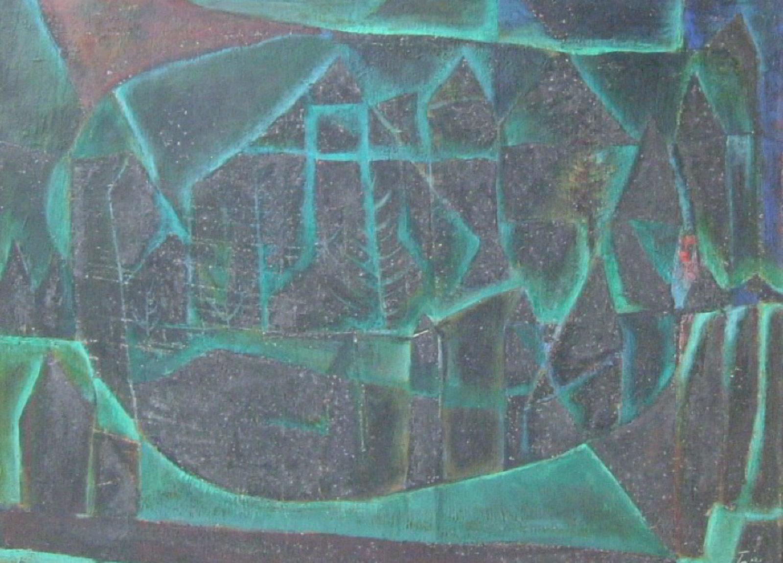 清川泰次《黒の中にみどりの光がある風景》1954-1955年 世田谷美術館蔵