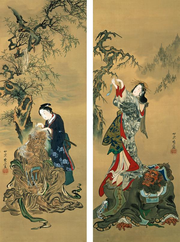 閻魔・奪衣婆図 河鍋暁斎 ニ幅 明治12年(1879)または18年(1885)以降 林原美術館