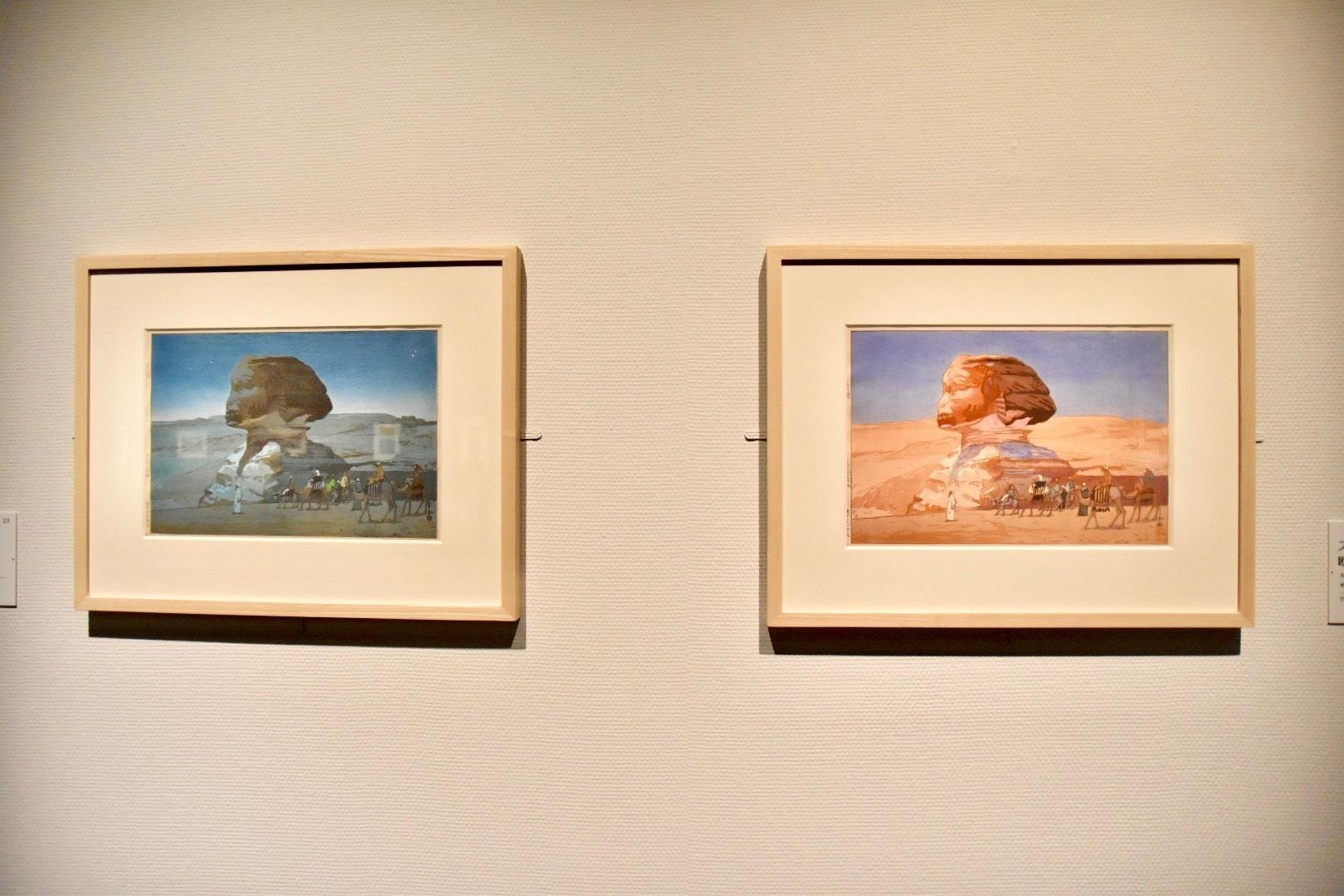 『欧州シリーズ』より 左:《スフィンクス 夜》1925年、右:《スフィンクス》1925年