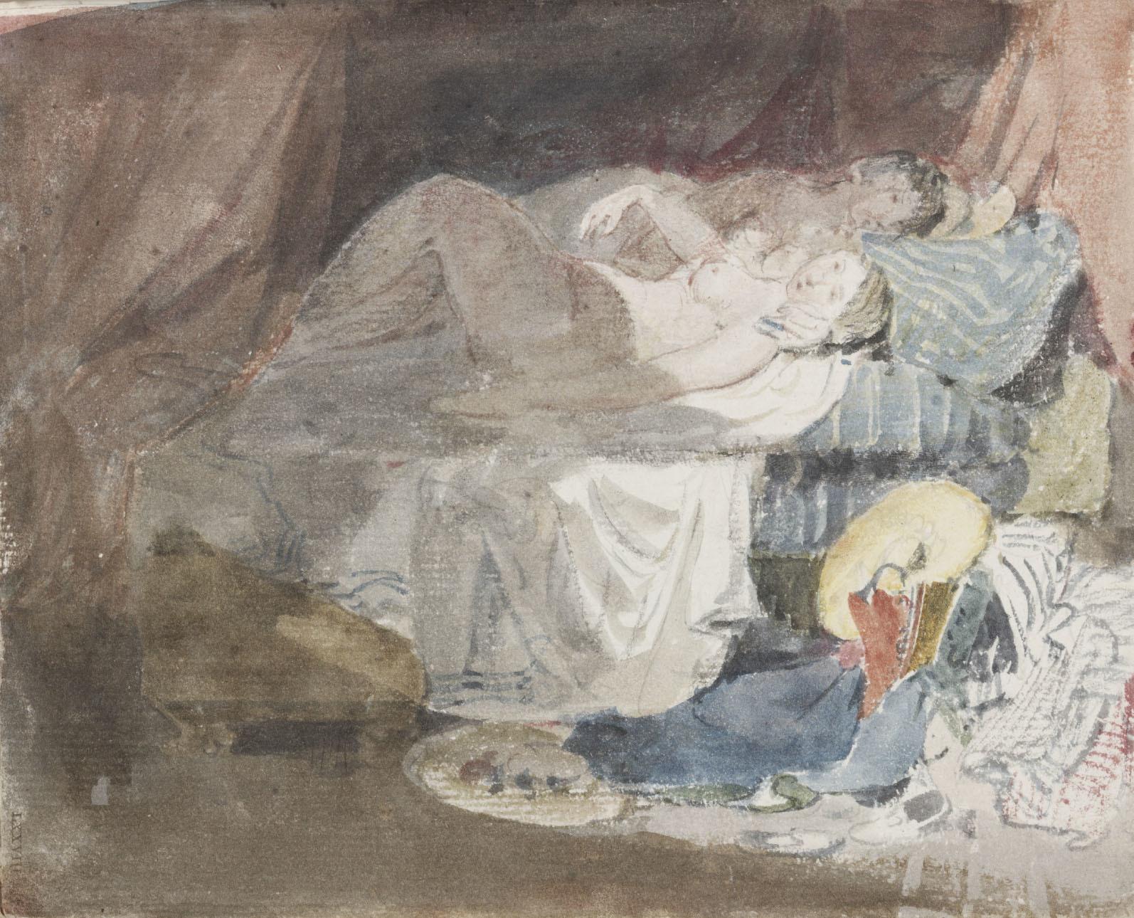 ジョゼフ・マロード・ウィリアム・ターナー 《ベッドに横たわるスイス人の裸の少女とその相手》「スイス人物」スケッチブックより 1802年 黒鉛、水彩/紙 16.3×19.8cm